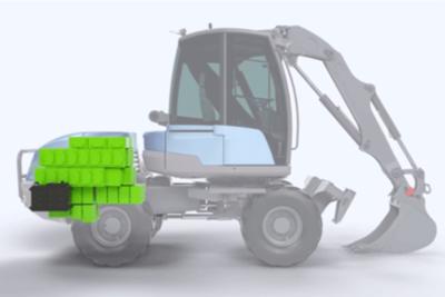 Retrofit d'une pelleteuse Diesel avec une batterie PowerModule® de 146kWh