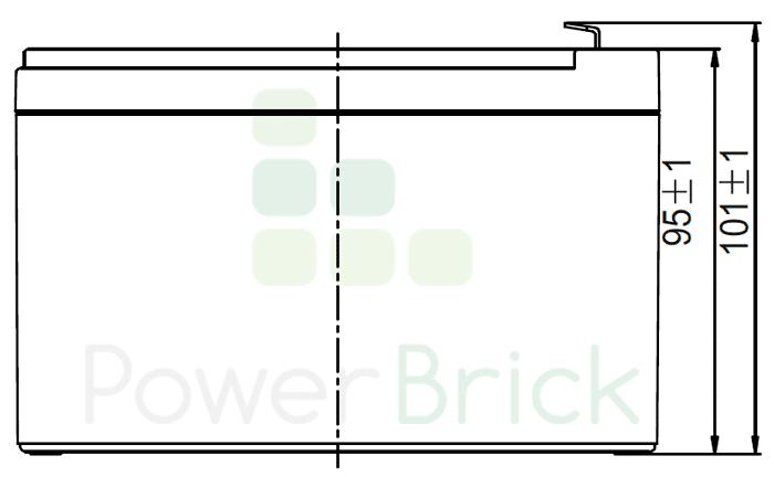 PowerBrick 12V-12Ah - Side